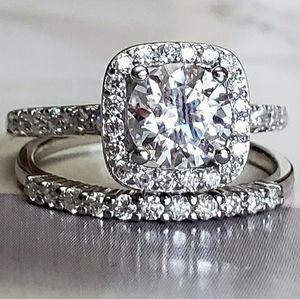 2PC Moissanite Diamond Ring sz5,8